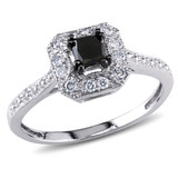 3/5 CT Black & White Princess & Round Diamonds TW Ring 10k White Gold GH I2;I3 Black Rhodium Plated - 7500043822