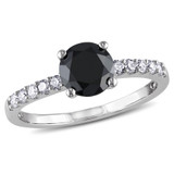 1 1/4 CT Black and White Diamond TW Engagement Ring 14k White Gold GH I1;I2 - 7500043842