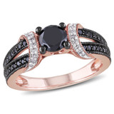 1 CT Black and White Diamond TW Ring 10k Pink Gold GH I2;I3 Black Rhodium Plated - 7500043889