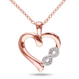0.05 CT Diamond TW Heart Pendant With Chain Pink Silver GH I2;I3 - 7500043359