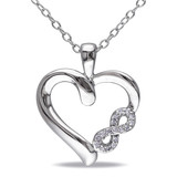 0.05 CT Diamond TW Heart Pendant With Chain Silver GH I2;I3 - 7500043360