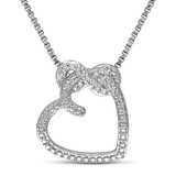 0.05 CT Diamond TW Heart Pendant With Chain Silver GH I2;I3 - 7500043369