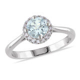 1/10 CT Diamond TW And 3/4 CT TGW Aquamarine Fashion Ring Silver GH I2;I3 - 75000000111