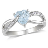 0.05 CT Diamond TW And 1 1/2 CT TGW Aquamarine Fashion Ring Silver GH I2;I3 - 75000000107