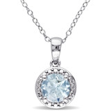 1 1/7 CT TGW Aquamarine Fashion Pendant With Chain Silver - 75000000084