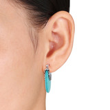 Silver and Turquoise Earrings with Clip-In Backs - 7500050383