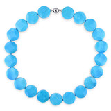 18'' 18mm Flower Shape Turquoise bead gemstone necklace w/ silver tone 9mm Ball clasp - 7500050401