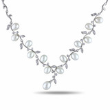 0.408 CT TGW Cubic Zirconia & 6.5 - 7 mm Freshwater Pearl Necklace Silver White Length 45cm - 7500050536