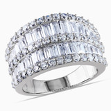 Silver 6ct TGW Baguette & Rd Cubic Zirconia Ring - 7500050527