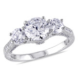 Silver White Cubic Zirconia 3 Stone Ring - 7500050517