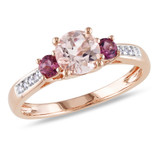 0.05 CT Diamond TW & 1 CT TGW Morganite Pink Tourmaline 3 Stone Ring 10k Pink Gold GH I1;I2 - 7500050407