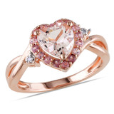 0.01 CT Diamond TW & 1 1/3 CT TGW Morganite Pink Tourmaline Fashion Ring Pink Silver GH I2;I3 - 7500050416