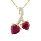 0.025 CT Diamond TW & 2 5/8 CT TGW Created Ruby Heart Pendant With Chain 10k Yellow Gold GH I1;I2 - 7500052170