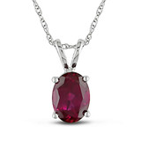 2 CT TGW Created Ruby Fashion Pendant With Chain 10k White Gold - 7500052169