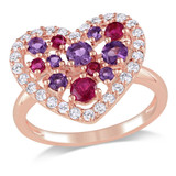 1 3/4 CT TGW White Topaz Ruby Amethyst Fashion Ring Pink Silver Pink Plated - 7500052094