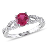 1/10 CT Diamond TW & 1 CT TGW Created Ruby Fashion Ring 10k White Gold GH I1;I2 - 7500052195