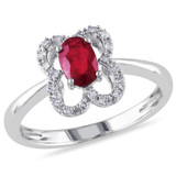 1/10 CT Diamond TW And 5/8 CT TGW Ruby (AB) Fashion Ring 10k White Gold GH I1;I2 - 7500052209