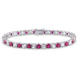 "14 1/2 CT TGW Created Ruby & Created White Sapphire Bracelet Silver Length 7.25"" - 7500052225"