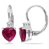 3 3/8 CT TGW Created Ruby Created White Sapphire LeverBack Earrings Silver - 7500052194