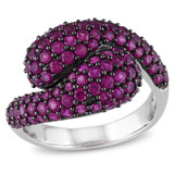 2 3/4 CT TGW Created Ruby Fashion Ring Silver Black Rhodium Plated - 7500052181
