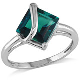 2.55 CT TGW Created Emerald Fashion Ring 10k White Gold - 7500050336