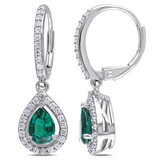 1 7/8 CT TGW Created Emerald Created White Sapphire LeverBack Earrings Silver - 7500050366