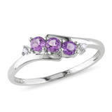 0.018 CT Diamond TW And 1/3 CT TGW Amethyst 3 Stone Ring 10k White Gold GH I2;I3 - 75000000530