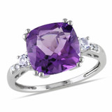 0.02 CT Diamond TW & 4 1/6 CT TGW Created White Sapphire Amethyst-Africa Fashion Ring 10k White Gold GH I1;I2 - 75000000464