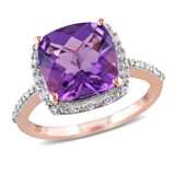 1/10 CT Diamond TW And 3 1/2 CT TGW Amethyst Fashion Ring 10k Pink Gold GH I2;I3 - 75000000487