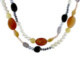 54 inch Pearl & Multi Gem Necklace White, Pink & Grey Freshwater Pearls, Dyed Golden Coin Pearls, Smokey Quatz, Yellow Agate, Amethyst, Carnelian - 7500054417