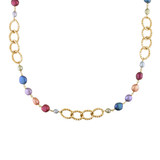 35 inch MUlti-Size & Multi-Color Freshwater Cultured Irregular Pearl Necklace with Yellow Plated Goldtone Twisted Oval Angle Links - 7500054475