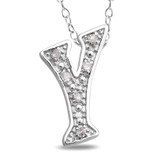 0.05 CT Diamond TW Initials Pendant With Chain Silver I3 - 7500054453