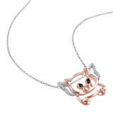 0.05 CT Black & White Diamond TW Fashion Pendant With Chain White Pink Silver GH I2;I3 - 75000000638
