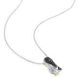 0.02 CT Black Diamond TW Fashion Pendant With Chain White Yellow Silver Black Rhodium Plated - 75000000631