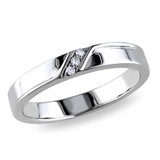 0.05 CT Diamond TW Mens Ring Silver GH I2;I3 - 75000000859
