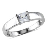 3/4 CT TGW Created White Sapphire Mens Ring Silver - 75000000861
