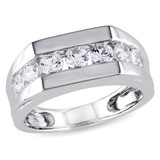 1 1/5 CT TGW Created White Sapphire Mens Ring Silver - 75000000842