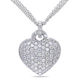 3 1/2 CT TGW Created White Sapphire Heart Pendant With Chain Silver - 75000001745