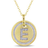 0.06 CT Diamond TW Initials Pendant With Chain Yellow Silver GH I3 - 75000001771