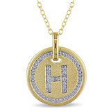 0.06 CT Diamond TW Initials Pendant With Chain Yellow Silver GH I3 Yellow Plated - 75000001775