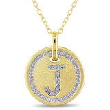 0.05 CT Diamond TW Initials Pendant With Chain Yellow Silver GH I3 - 75000001778