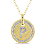 0.05 CT Diamond TW Initials Pendant With Chain Yellow Silver GH I3 - 75000001782