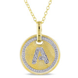 0.05 CT Diamond TW Initials Pendant With Chain Yellow Silver GH I3 - 75000001763