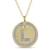0.04 CT Diamond TW Initials Pendant With Chain Yellow Silver GH I3 Yellow Plated - 75000001773