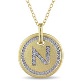 0.06 CT Diamond TW Initials Pendant With Chain Yellow Silver GH I3 Yellow Plated - 75000001780
