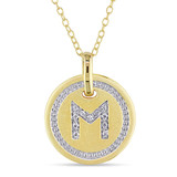 0.06 CT Diamond TW Initials Pendant With Chain Yellow Silver GH I3 - 75000001781