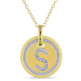 0.05 CT Diamond TW Initials Pendant With Chain Yellow Silver GH I3 - 75000001783