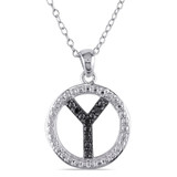 0.05 CT Black Diamond TW Initial Y Pendant With Chain Silver Black Rhodium Plated - 75000001849