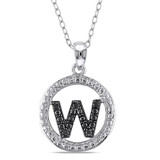 0.05 CT Black Diamond TW Initial W Pendant With Chain Silver Black Rhodium Plated - 75000001848