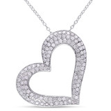 1 CT Diamond TW Heart Pendant With Chain Silver - 75000001964